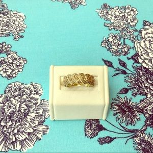 Gold Diamond Cancer Ribbon Ring of Hope